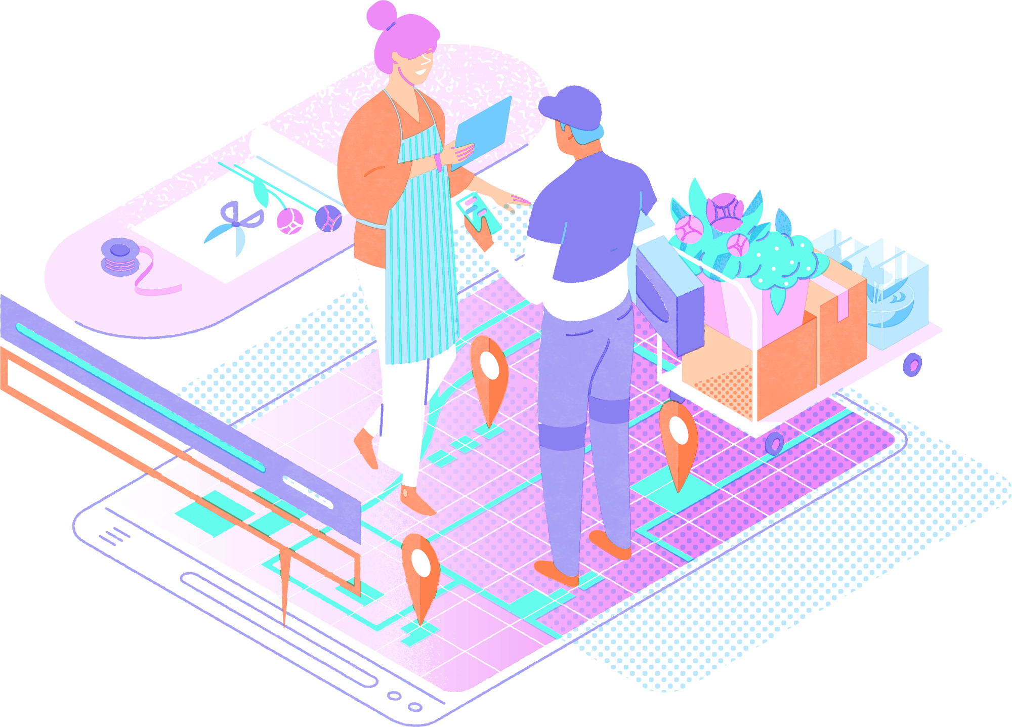 Abstract illustration of customer service representatives